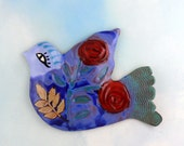Bluebird and Roses Hand-made Ceramic Wall Art by Cathy Kiffney