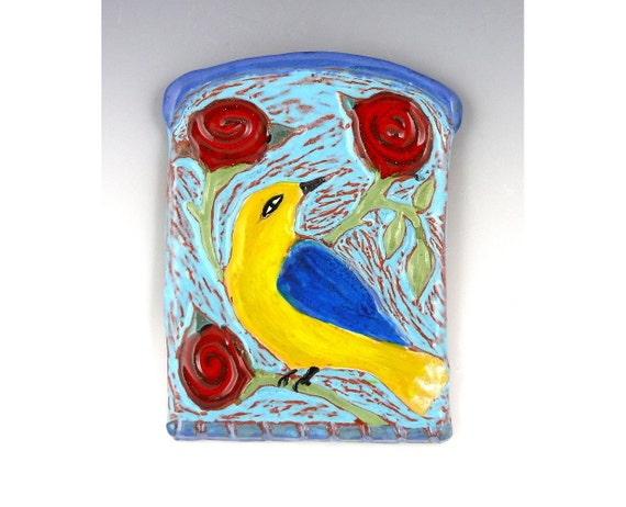 Yellow Warbler and Roses Ceramic Tile