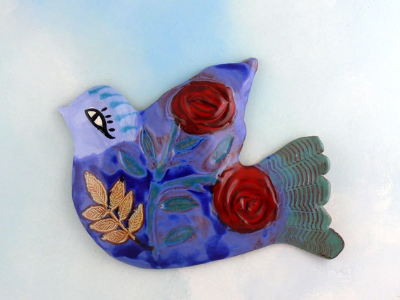 Bluebird and Roses Hand-made Ceramic Wall Art by Cathy Kiffney