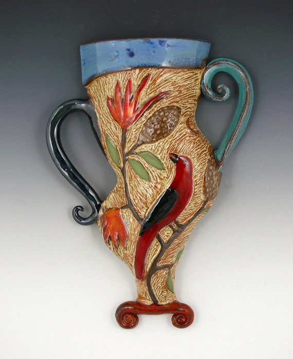 Tanager and Lily Ceramic Wall Vase
