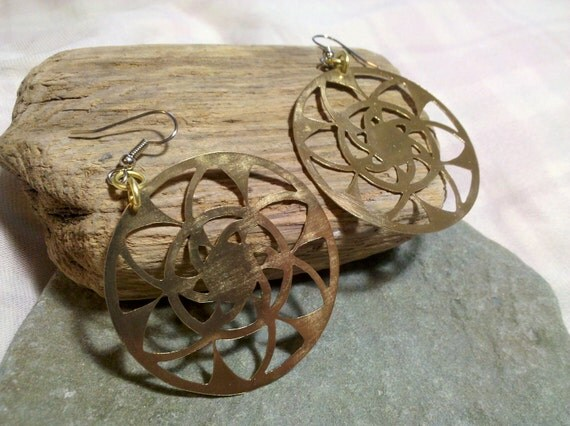"""Brass """"Kaleidoscope"""" Earrings"""
