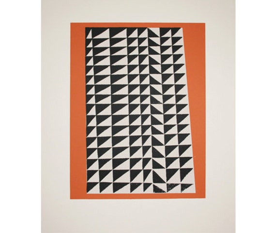 SALE Handmade original abstract geometric screenprint in bold colours - black, white and orange.