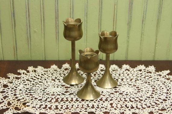 Brass Tulip Candleholders