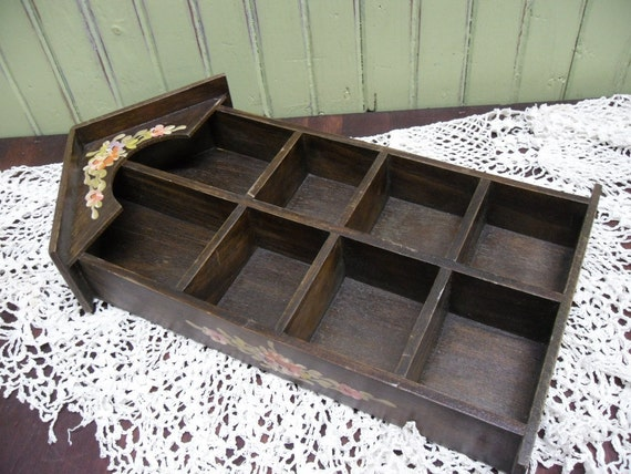 Wood Curio Display Shelf / Cottage Chic