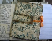 Aged Blue Flower Journal with Ribbon