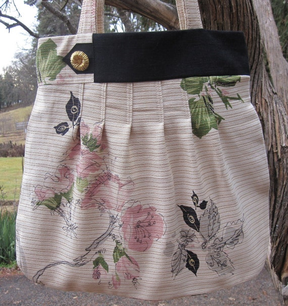 Vintage 1950s Waverly Asian Influence Large Purse Tote