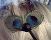 Peacock feather elastic headband with rhinestone