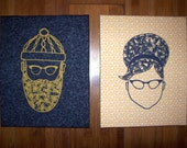 FutureLint hand screened art - beard of bees and beehive hair set