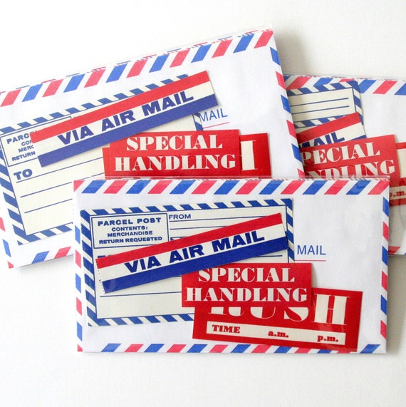 LAST ONE - Paper Pack:  Air Mail, 7 Pieces (Airmail Envelopes & Dennison Postage Labels)