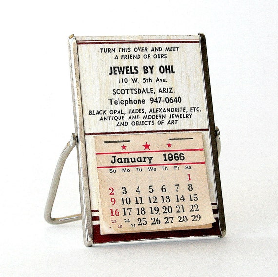 Vintage Mini Calendar with Mirror from 1966