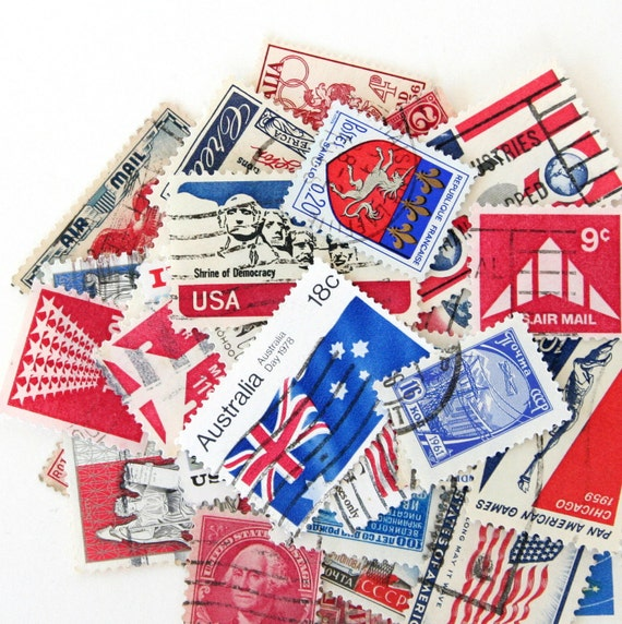 Red, White, and Blue Postage Stamps - Set of 30