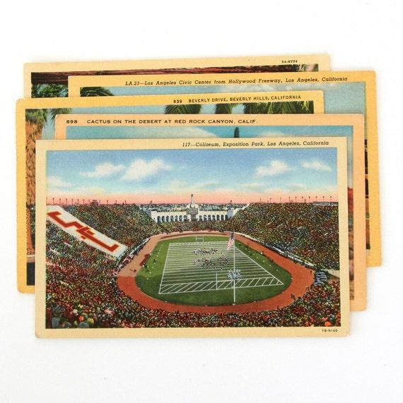 Vintage California Linen Postcards - Set of 5