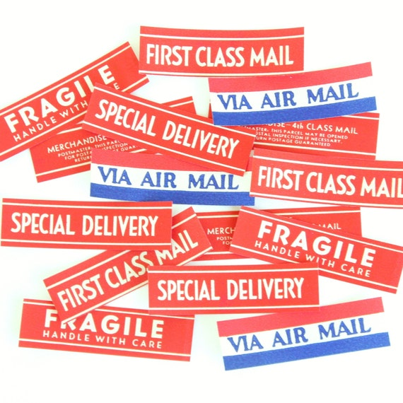 Vintage Mini Dennison Mail Labels - Set of 15, NOS