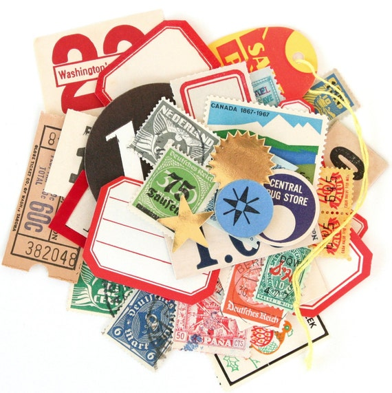 Vintage Paper Collection No. 10 (Stamps, Labels, Tags, Tickets & More) - 40 Pieces