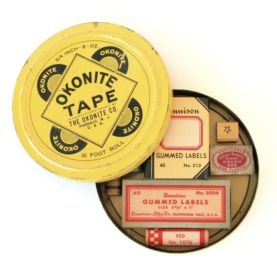Vintage Yellow Round Metal Tin with Instant Collection of Vintage Office Supplies - Dennison Labels, Rubber Stamps, Erasers, Lead