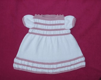 Dress for a baby girl, hand knitted in white & pink cotton yarn age 3-9 months, MADE TO ORDER