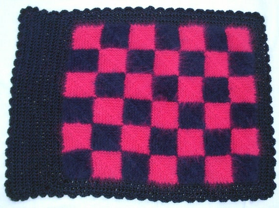 Baby blanket/throw/car seat cover /pram cover hand knitted in soft angora