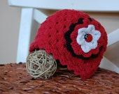 Custom Listing For Kelly - 100% Organic Cotton Baby Girl Ladybug Hat with Rosette Hair Clip Hand Knit in Size 6-12 mo