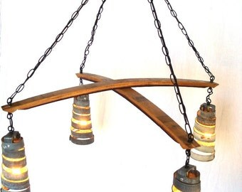"STAVE CROSS - ""Intersect""  - Wine Barrel Ring Chandelier - 100% Recycled"