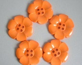 Lot of 5 Extra Large Flower Buttons - Orange