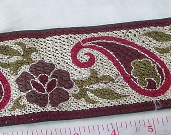 SALE - Embroidered Trim - Black - Multi was 9.00 now 6.00
