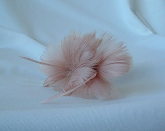 2 Feather Flowers in Cafe Du Lait