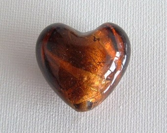 SALE - 25mm Brown/Gold Glass Silver Foil Heart Bead
