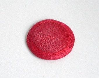 Mini Sinamay Fascinator Base - Red