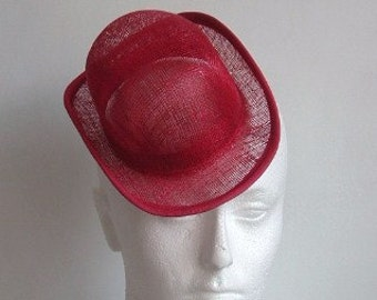 Sinamay Mini Hat - Bowler- Red