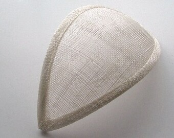 X5 Teardrop Sinamay Fascinator Base -Antique white