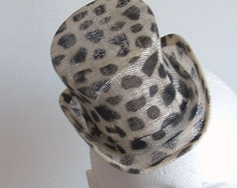 Sinamay Mini Top Hat  - Animal print