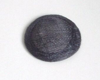 Mini Sinamay Fascinator Base - Nearly Black