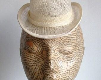 Sinamay Mini Hat - Bowler- Ivory