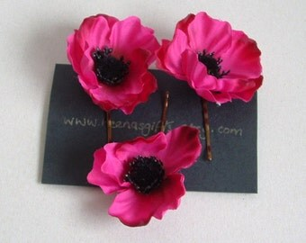 Lot of 3 Small Anemone - Pink