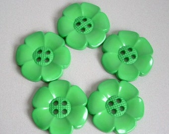 Lot of 5 Extra Large Flower Buttons - Green