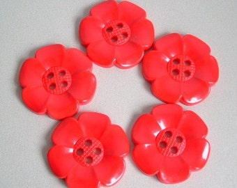 Lot of 5 Extra Large Flower Buttons - Red