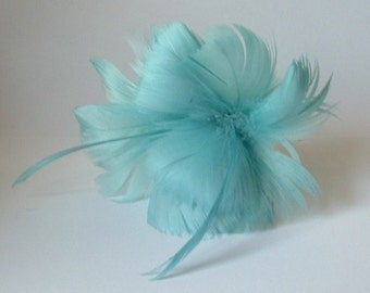 2 Turquoise Feather Flowers