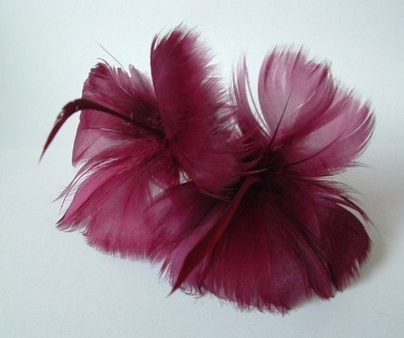 2 Plum Feather Flowers