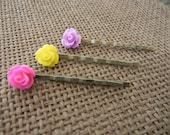 FREE SHIPPING - Set of 3 Cabochon Flower Bobby Pins (Hot Pink, Yellow, and Lavender)
