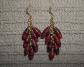 RESERVED Deep Red Dangle earrings