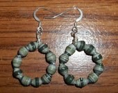 Paper bead handmade hoop dangles - green