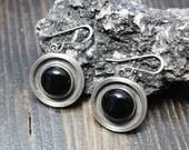 Onyx Circle Earrings