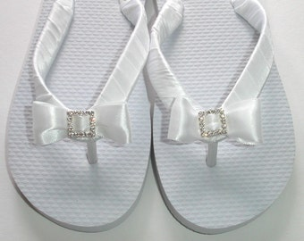 Satin Straps Flip Flops With A Crystal Buckle Bow