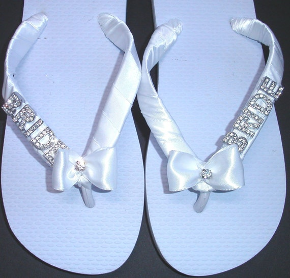 Wedding Flip Flops Thongs with BRIDE in silver or gold letters