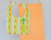 Pocket Bib and Burp Cloth Set in Orange and Lime