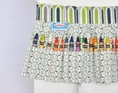 Crayon Apron in Blue, Green, and Gray
