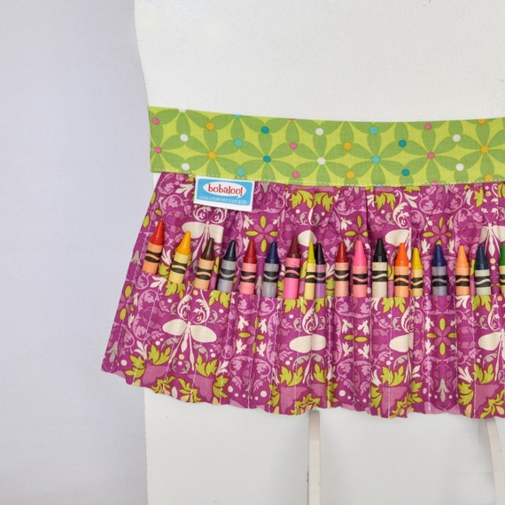 Crayon Apron in Purple and Green