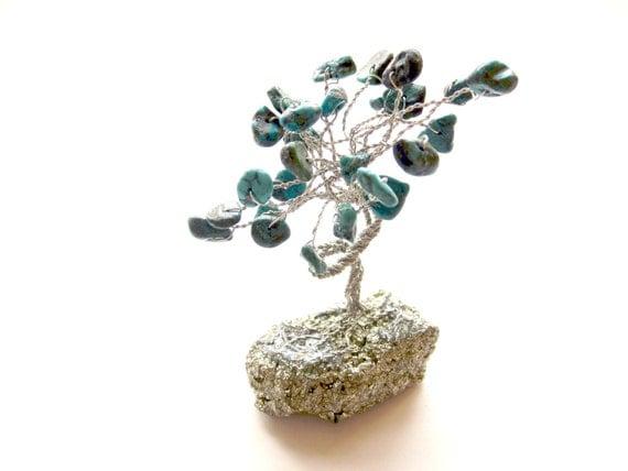 Miniature Turquoise Bonsai Gem Tree on Sparkling Iron Pyrite Base
