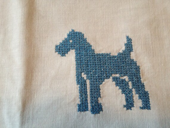 Set of 2 Vintage Blue Schnauzer Dog Embroidered Linen Table Runners