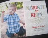 Naughty or Nice Christmas Holiday Photo Card-Printable